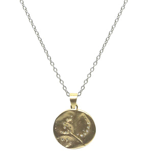 GOLD SWIRL IMPRESSION PENDANT ON VINTAGE SILVER CHAIN