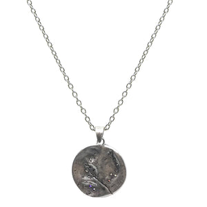VINTAGE SILVER SWIRL IMPRESSION PENDANT NECKLACE