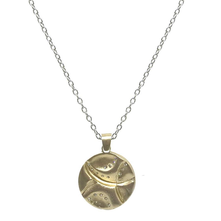 GOLD GEOMETRIC IMPRESSION PENDANT ON VINTAGE SILVER CHAIN