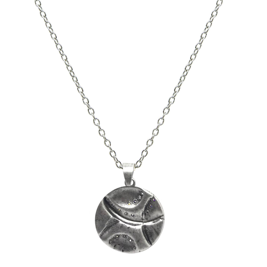 VINTAGE SILVER GEOMETRIC IMPRESSION PENDANT NECKLACE