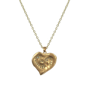 LARGE GOLD IMPRESSION HEART NECKLACE