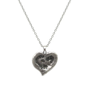 LARGE VINTAGE SILVER IMPRESSION HEART NECKLACE