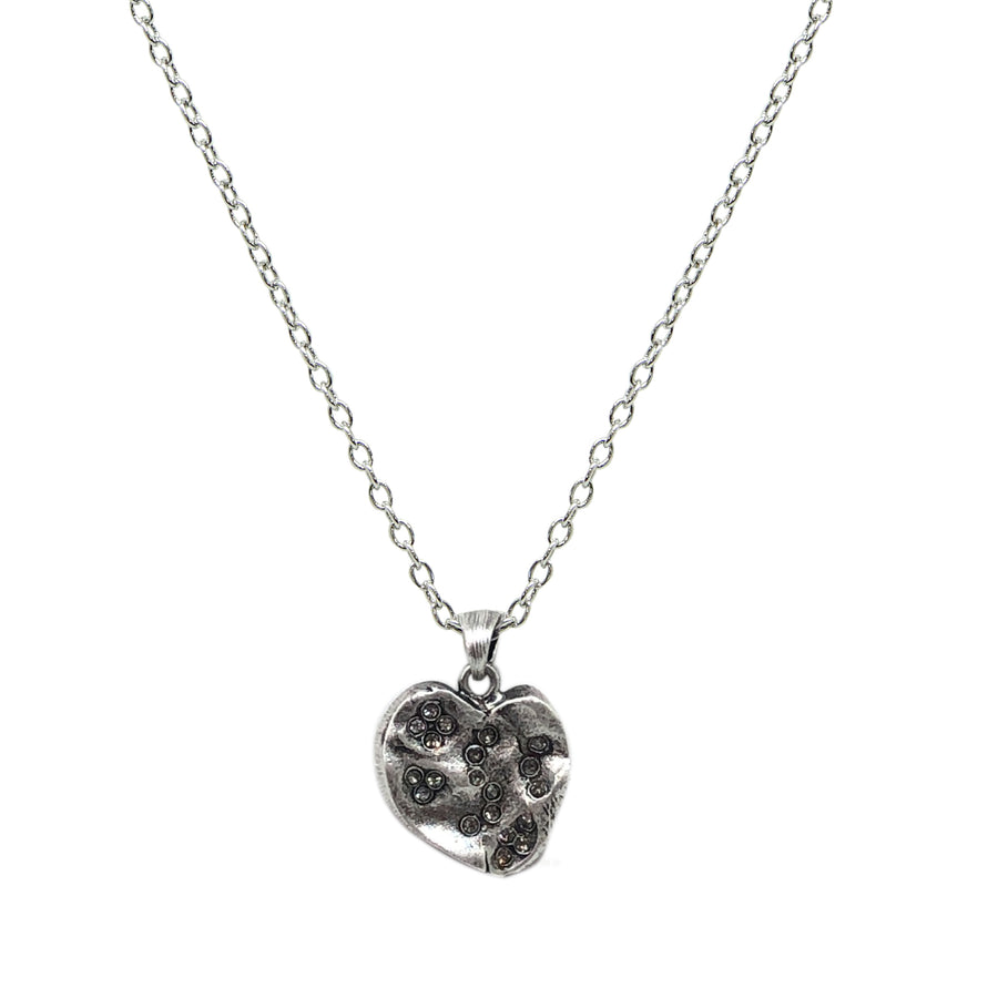 MEDIUM VINTAGE SILVER IMPRESSION HEART NECKLACE