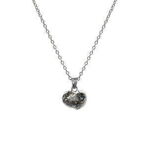 SMALL VINTAGE SILVER IMPRESSION HEART NECKLACE