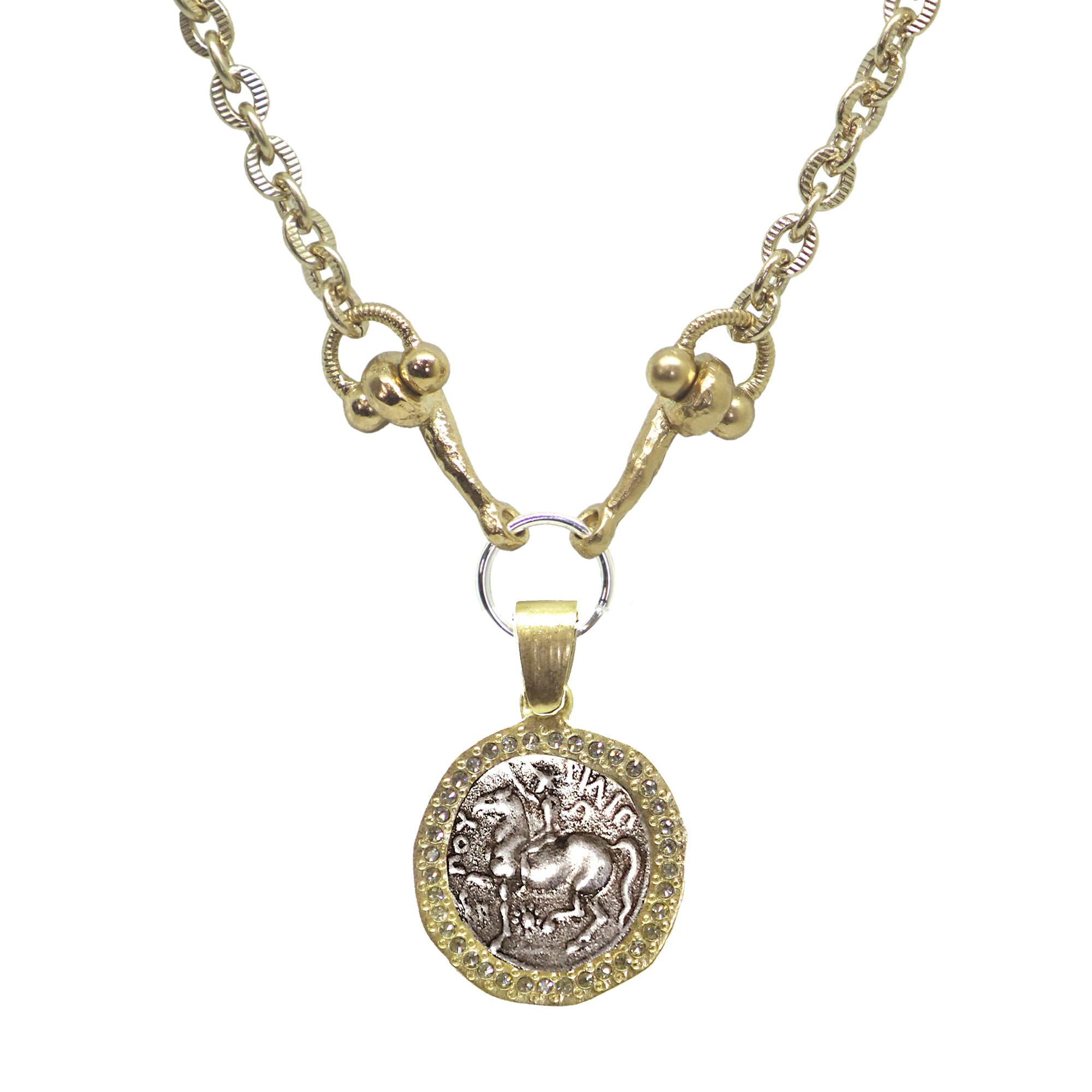 GOLD HORSE CRYSTAL BEZEL HORSEBIT NECKLACE