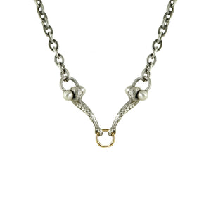 MINI VINTAGE SILVER HORSE BIT & RING NECKLACE