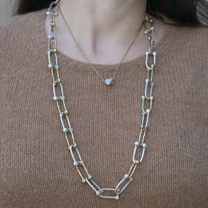 TWO TONE HORSESHOE LINK NECKLACE