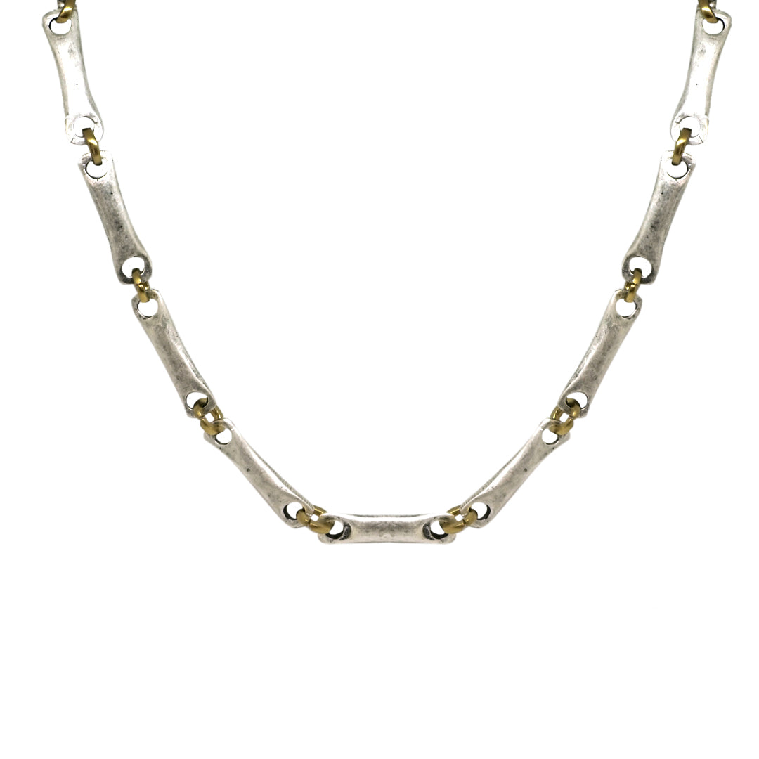 VINTAGE SILVER FLAT LINK AND RING CHAIN NECKLACE