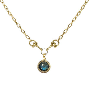GOLD MINI LABRADORITE AND HORSEBIT NECKLACE