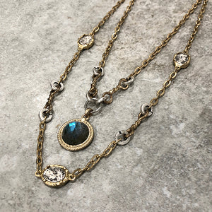 TWO TIER TWISTED RING LABRADORITE NECKLACE