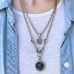 GOLD TWO TIER PAVE & LABRADORITE CRYSTAL NECKLACE
