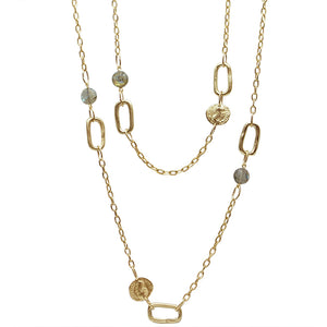 GOLD & LABRADORITE LINK & COIN STATION NECKLACE