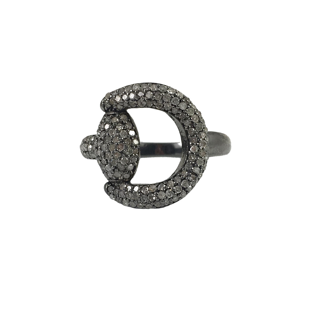 BLACK RHODIUM BANKA DIAMOND BUCKLE RING