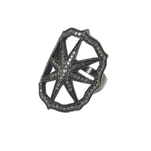 BLACK RHODIUM PARLI DIAMOND STARBURST RING