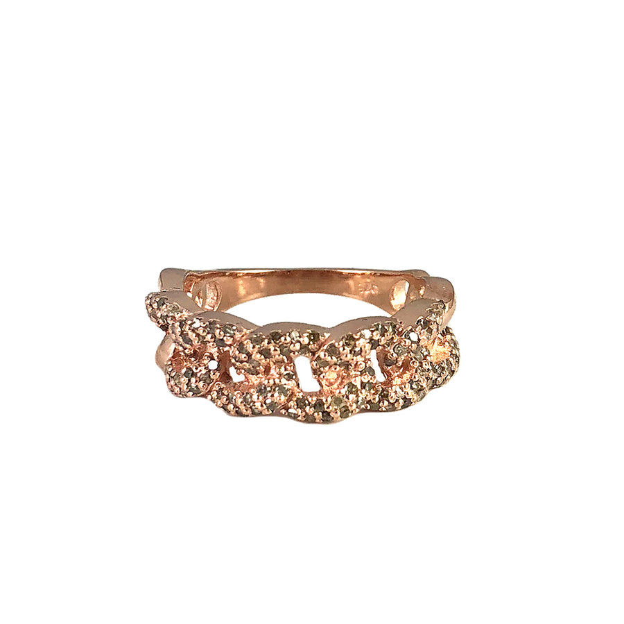 ROSE GOLD AMLA DIAMOND CHAIN LINK RING