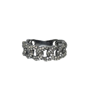 BLACK RHODIUM AMLA DIAMOND CHAIN LINK RING