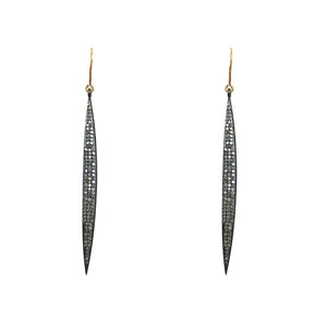 BLACK RHODIUM DARSI DIAMOND LONG POINT EARRINGS