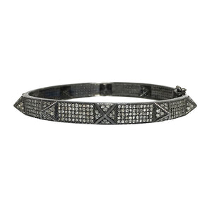 BLACK RHODIUM ANKOLA DIAMOND PYRAMID BANGLE