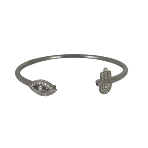 BLACK RHODIUM LONI DIAMOND EVIL EYE & HAMSA FLEX BANGLE