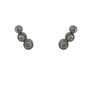 BLACK RHODIUM AUSA DIAMOND CIRCLES STUD EARRINGS