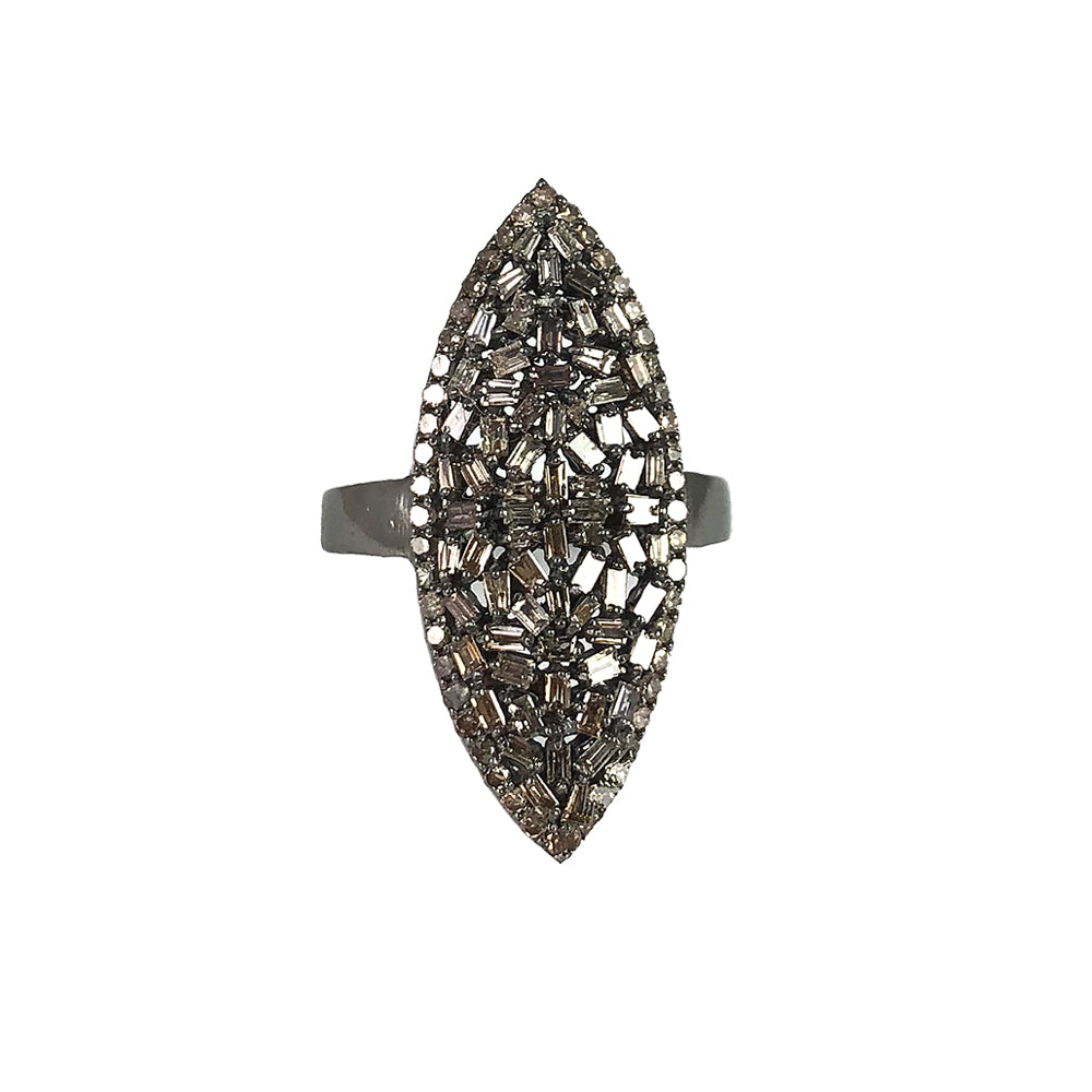 BLACK RHODIUM NIRSA DIAMOND MARQUISE RING