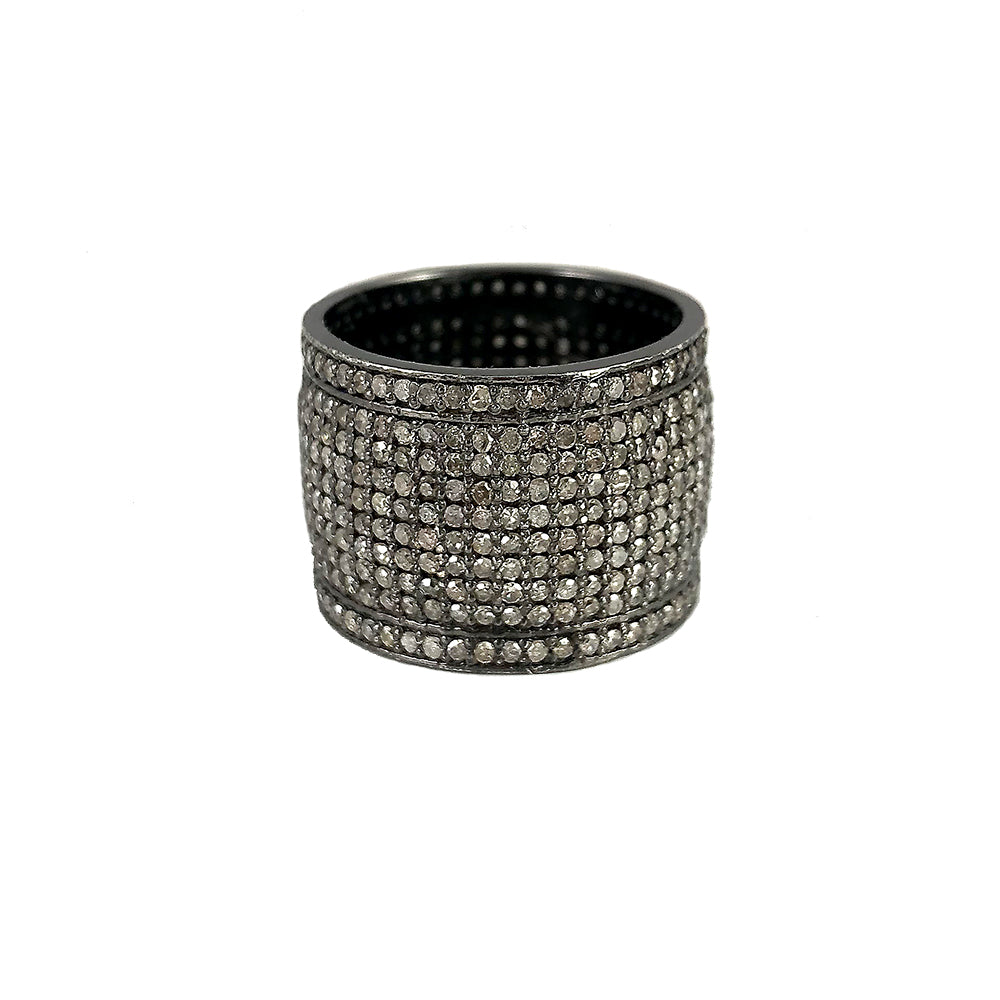 BLACK RHODIUM KASHMIR DIAMOND WIDE BAND RING