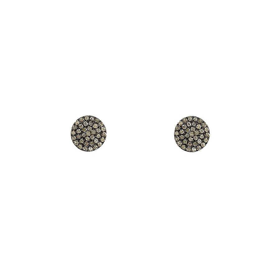 BLACK RHODIUM KEKRI DIAMOND DISK STUD EARRINGS