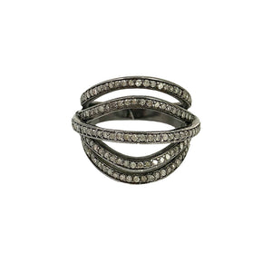 BLACK RHODIUM OSION DIAMOND OPEN DOME RING