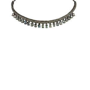 BLACK RHODIUM ALLUR DIAMOND & LABRADORITE COLLAR NECKLACE
