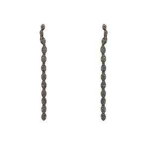 BLACK RHODIUM AMBUR DIAMOND LONG CURVE EARRINGS
