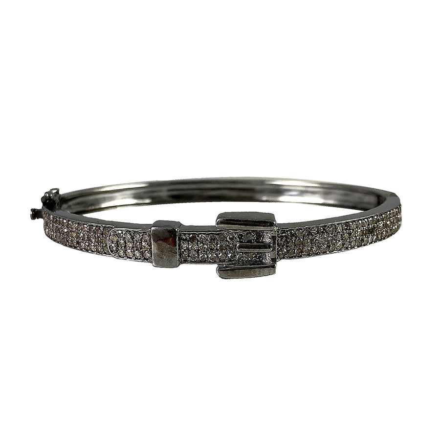 BLACK RHODIUM SELU DIAMOND BUCKLE BANGLE