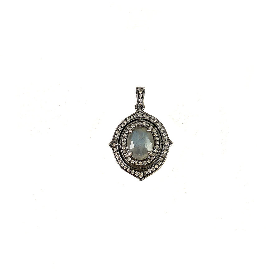 VINTAGE SILVER LABRADORITE & DIAMOND Y-SHAPED NECKLACE