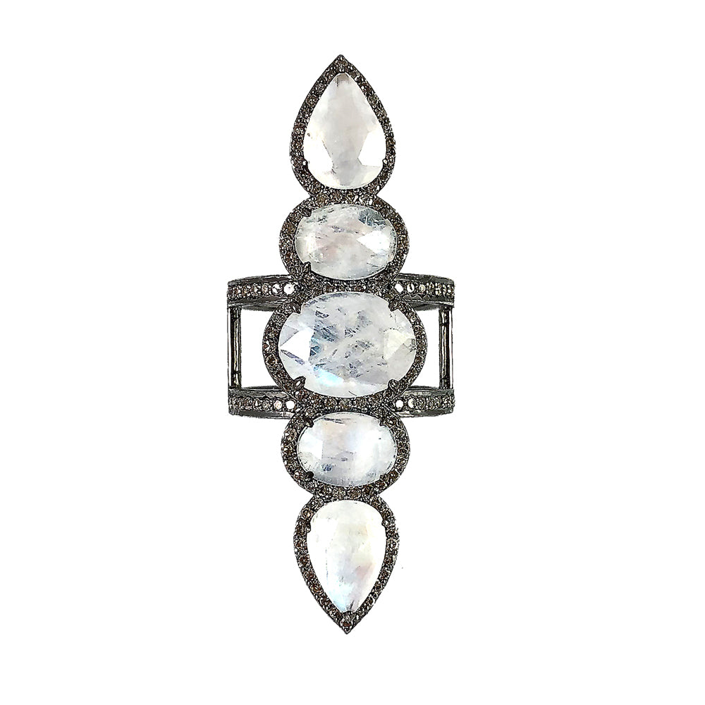 BLACK RHODIUM CHAAND MOONSTONE & DIAMOND COCKTAIL RING
