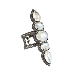 BLACK RHODIUM CHAAND MOONSTONE COCKTAIL RING