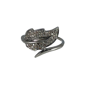 BLACK RHODIUM PATRA DIAMOND LEAF RING