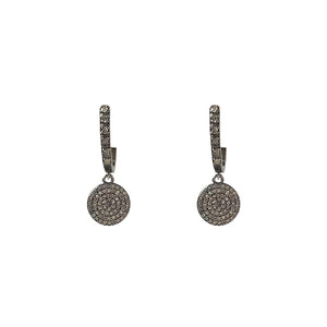 BLACK RHODIUM SIRA HUGGIES WITH DIAMOND DISK DROPS