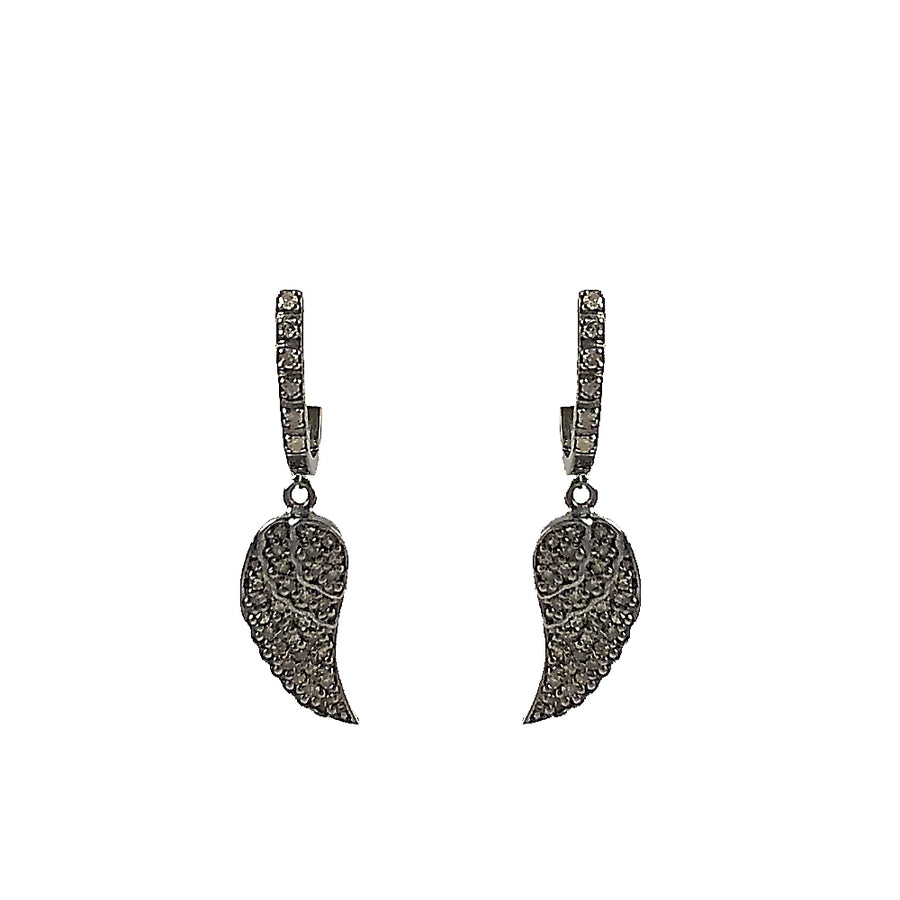 BLACK RHODIUM SIRA HUGGIES WITH DIAMOND ANGEL WING DROPS