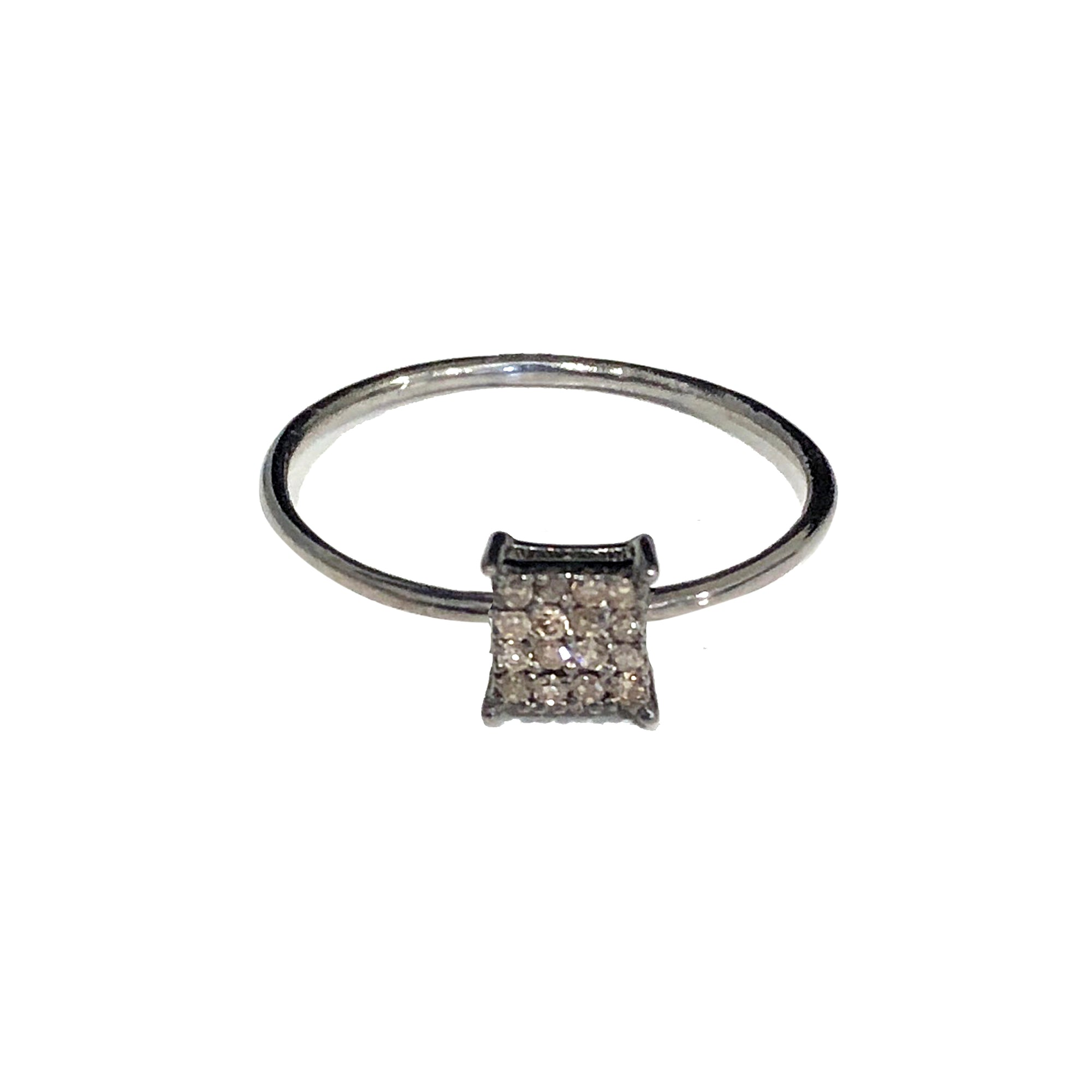 BLACK RHODIUM MANDI DIAMOND SQUARE SHAPED BAND RING