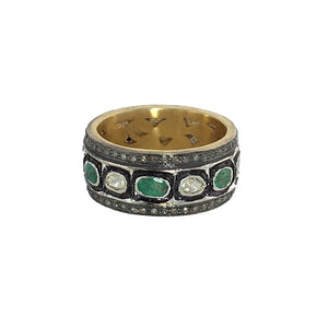 VERMEIL TANDA DIAMOND & EMERALD RING