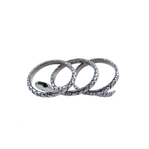 VINTAGE SILVER THREE PART SNAKE RING