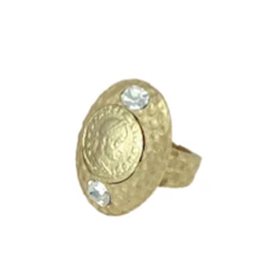 PAVIA GOLD HAMMERED OVAL COIN RING