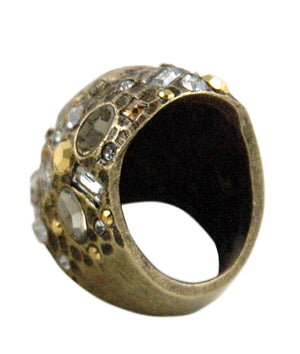 ANTIQUE BRASS PAVIA COIN & CRYSTAL RING