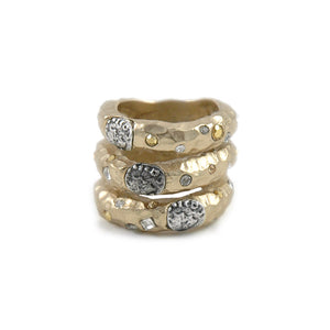 GOLD TUSCANY 3 ROW COIN RING