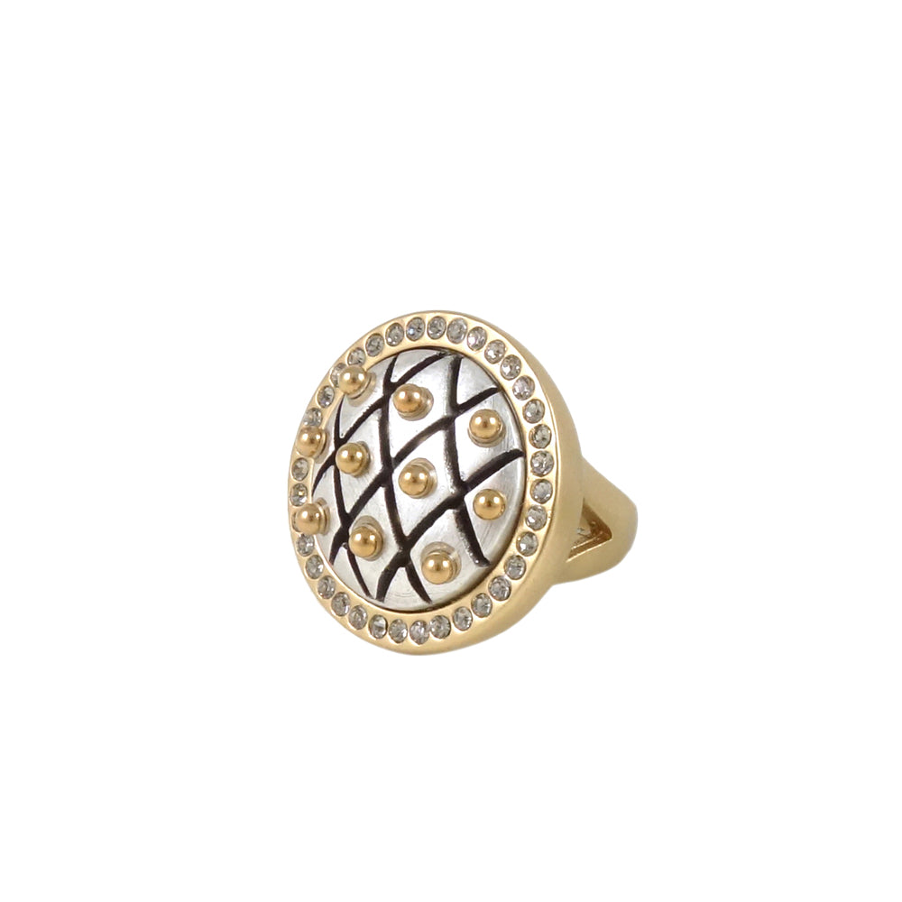 GOLD & SILVER FRAMED DOME FISHNET RING