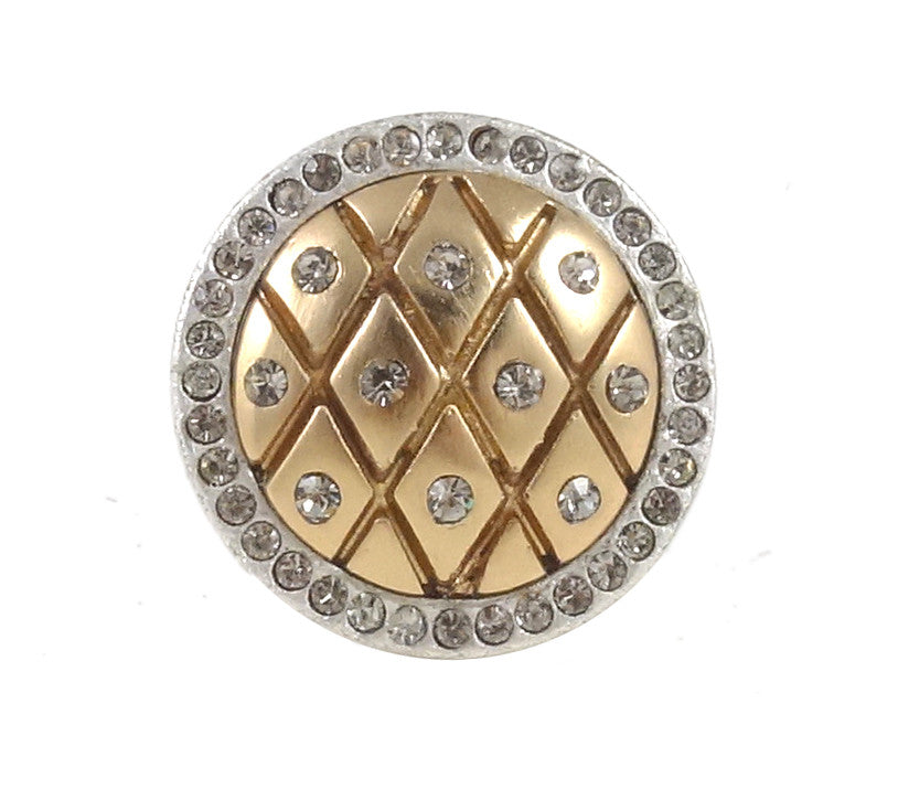 VINTAGE SILVER & GOLD FRAMED DOME FISHNET RING W/BD CRYSTALS