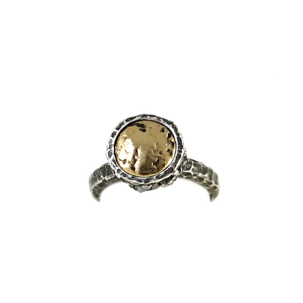 VINTAGE SILVER HIGH TOP RING WITH VINTAGE SILVER COIN