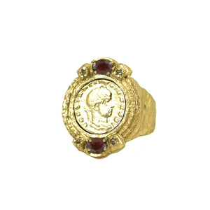 GOLD GARNET COIN RING