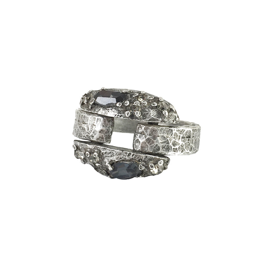 VINTAGE SILVER & BLACK DIAMOND NASC RING