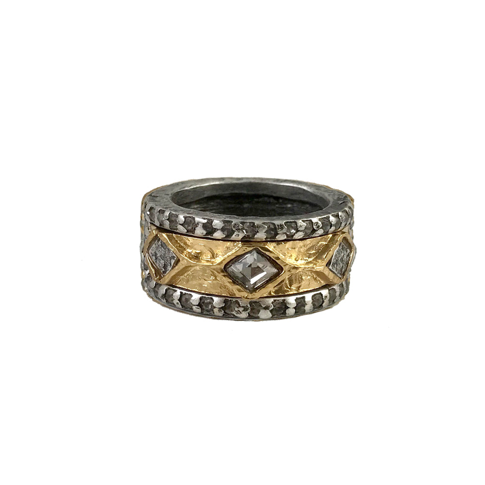 VINTAGE SILVER SURAT COIN & BLACK DIAMOND RING