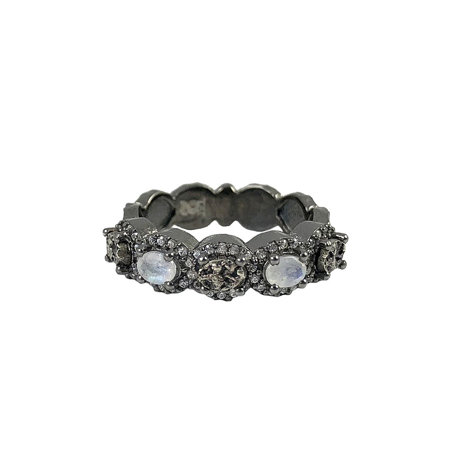 GUNMETAL CRYSTAL & MOONSTONE SCALLOPED RING